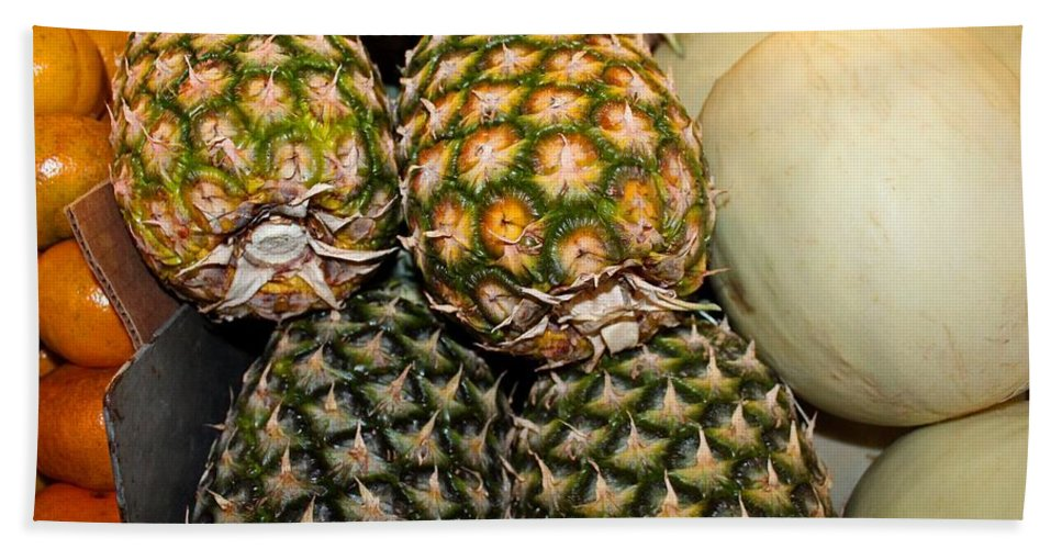 Pineapples Beach Towel featuring the photograph Pineapples And Melons by Michiale Schneider