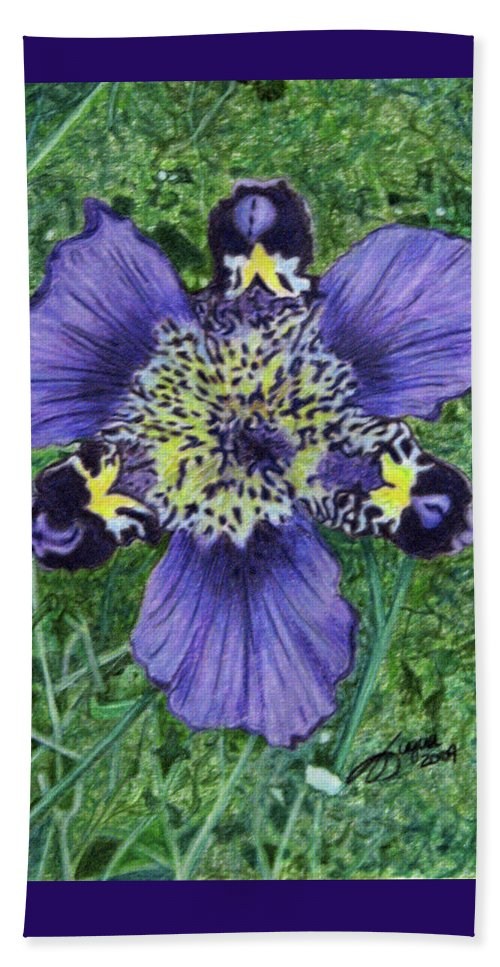 Fuqua - Artwork Beach Towel featuring the drawing Pinewoods Lily by Beverly Fuqua