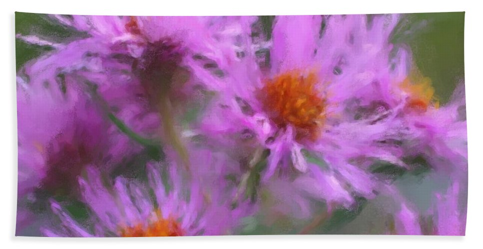 Flower Beach Towel featuring the painting Pink Autumn Flowers by Smilin Eyes Treasures