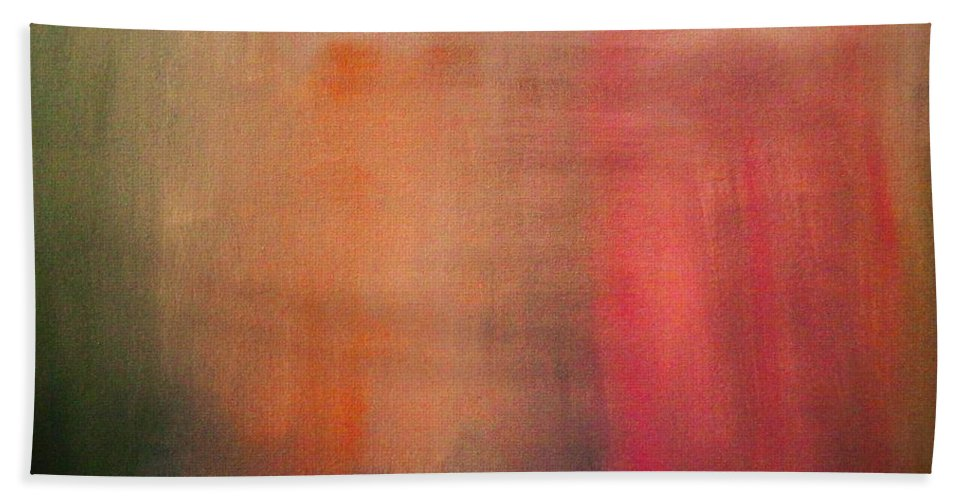 Abstract Beach Towel featuring the painting Pink Falls by Marvin Pike