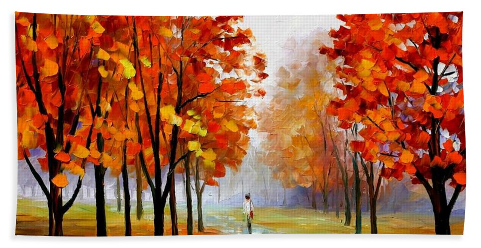 Afremov Beach Towel featuring the painting Pink Fog by Leonid Afremov