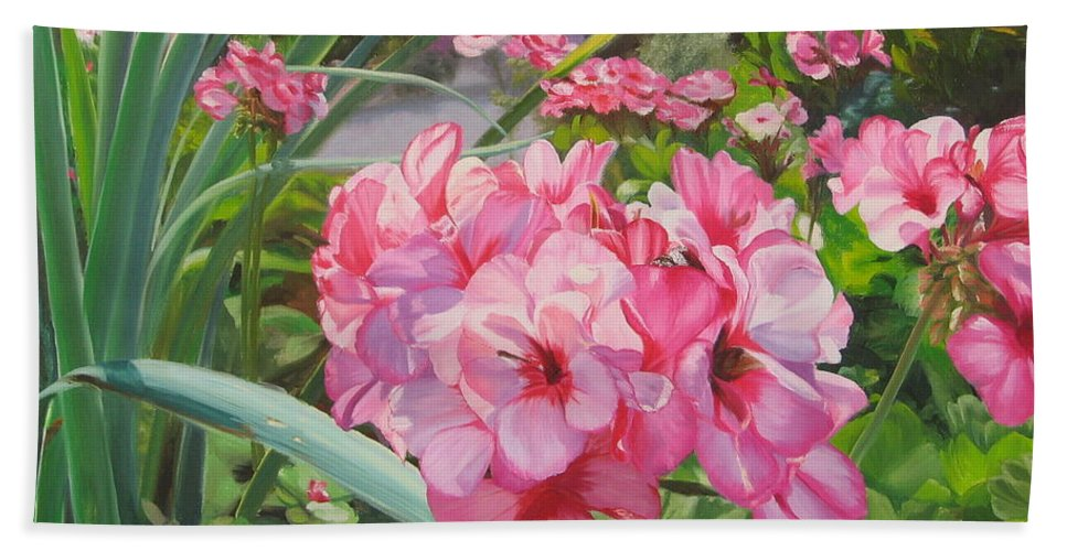 Pink Geraniums Beach Towel featuring the painting Pink Geraniums by Lea Novak