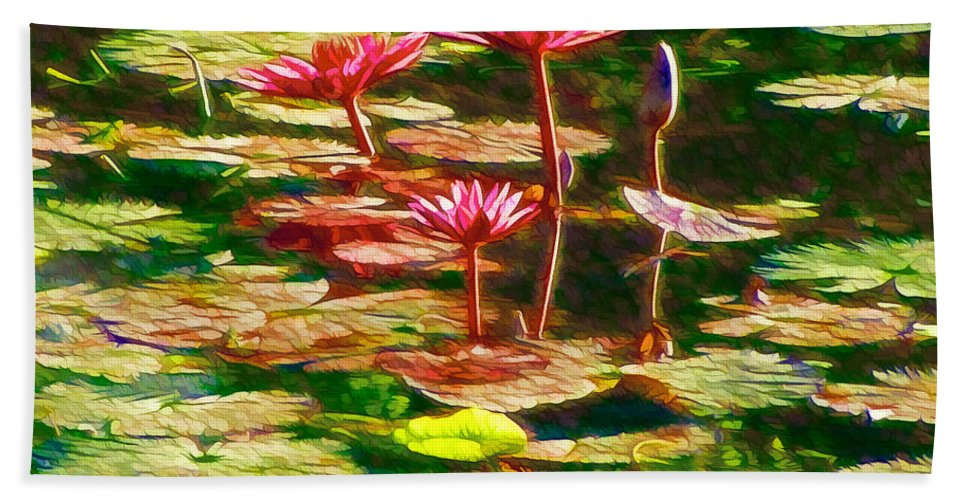 White Lotus Flower Beach Towel featuring the painting Pink Lotus Flower 2 by Jeelan Clark