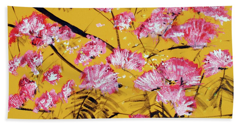 Floral Beach Towel featuring the painting Pink Mimosa Tree Dark Yellow 201642 by Alyse Radenovic