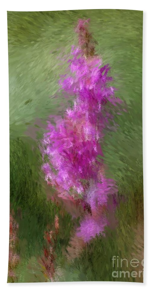 Abstract Beach Towel featuring the digital art Pink Nature Abstract by David Lane