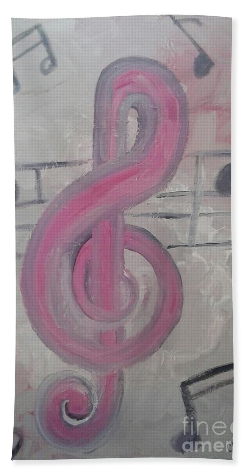 Music Treblecleffects Pink Musical Beach Towel featuring the painting Pink Music by Cliff Weatherspoon