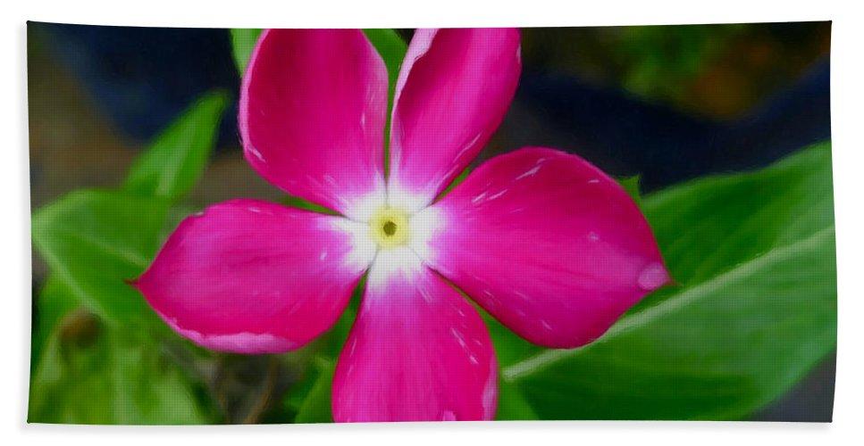 Pink Periwinkle Flower Beach Towel featuring the painting Pink Periwinkle Flower 1 by Jeelan Clark