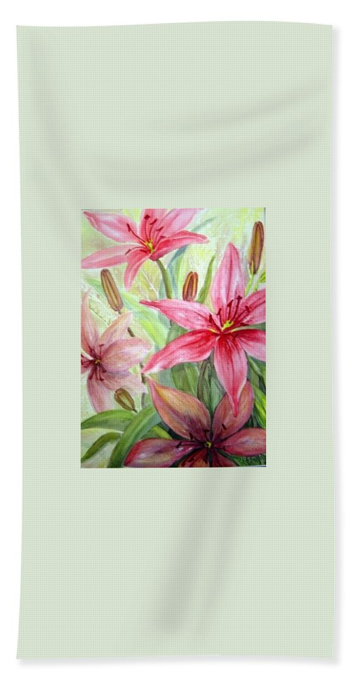 Pink Pixie Lilies Flowers Beach Towel featuring the painting Pink Pixie Lilies by Joanne Smoley