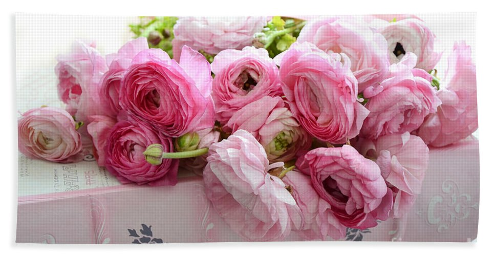 Ranunculus Beach Sheet featuring the photograph Pink Ranunculus Peonies Roses Print - Shabby Cottage Dreamy Pink Ranunculus Peony Roses Wall Decor by Kathy Fornal