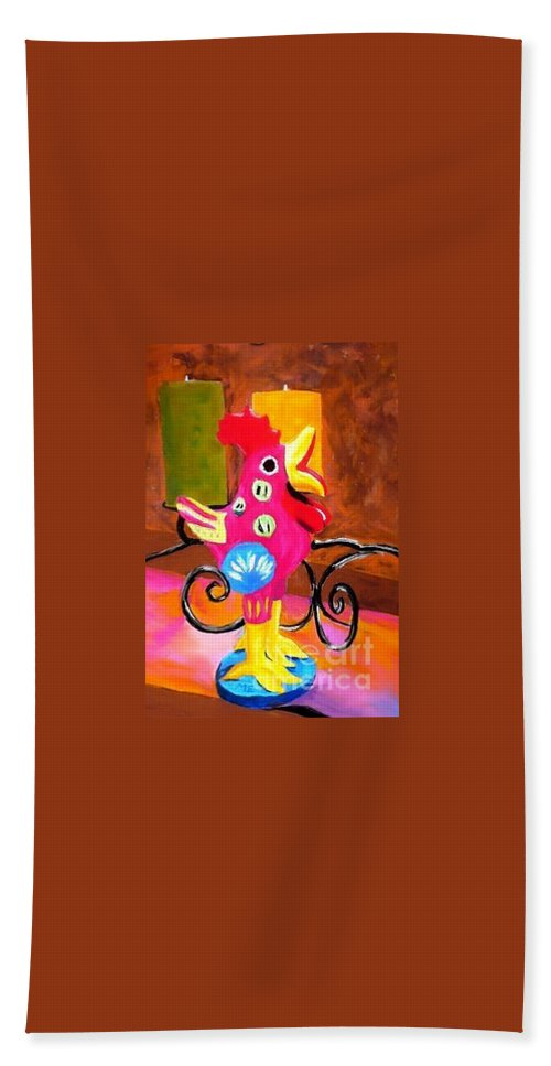 Rooster Beach Towel featuring the painting Pink Rooster by Melinda Etzold