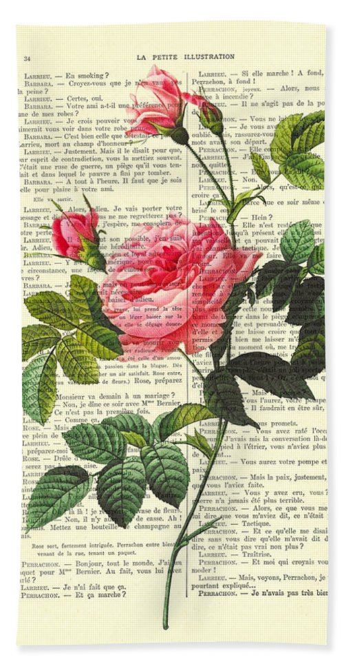 Pink Beach Towel featuring the digital art Pink Roses, Valentines Gift by Madame Memento