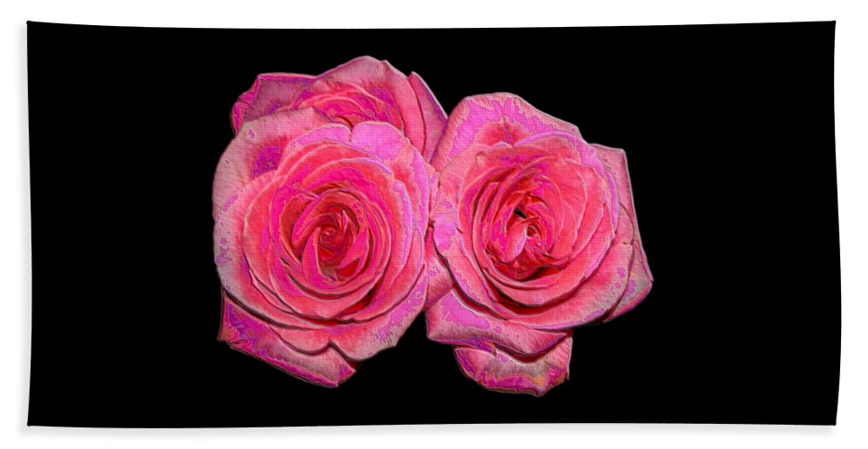 Two Pink Roses Beach Towel featuring the photograph Pink Roses With Enameled Effects by Rose Santuci-Sofranko