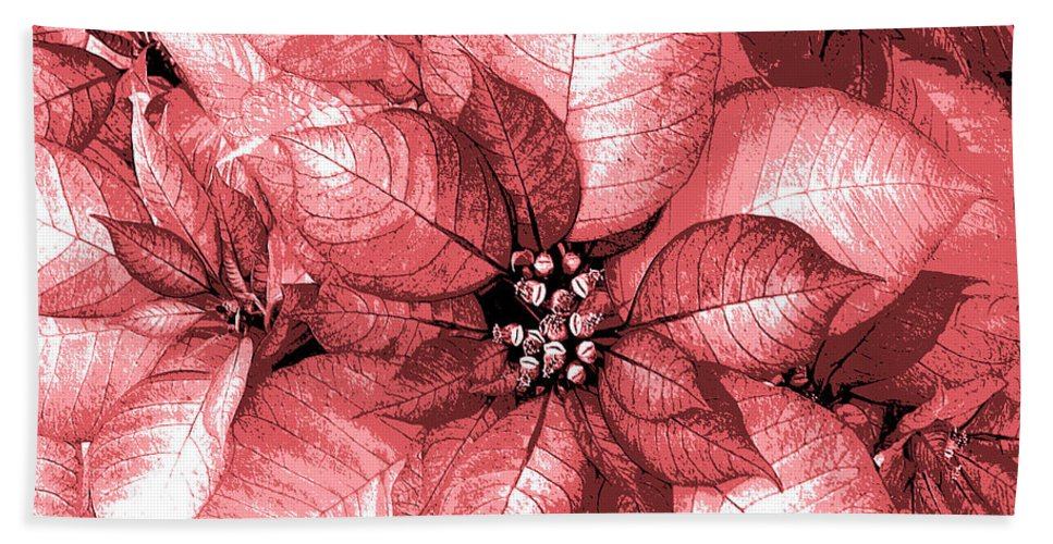 Poinsettia Beach Towel featuring the digital art Pink Shimmer by DigiArt Diaries by Vicky B Fuller