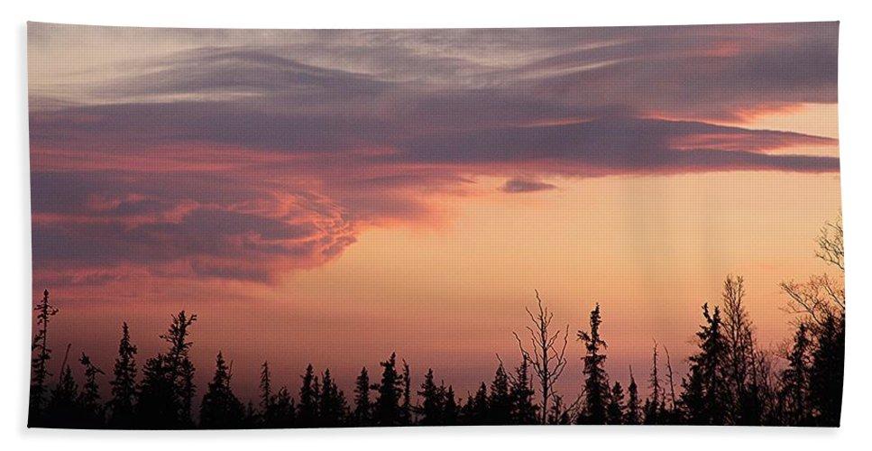 Homer Alaska Beach Towel featuring the photograph Pink Sunset by Lori Mahaffey