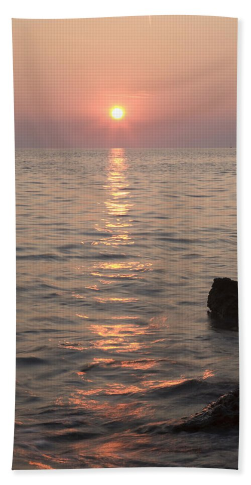 Sea Beach Towel featuring the photograph Pink Sunset Over The Istrian Peninsula by Ian Middleton