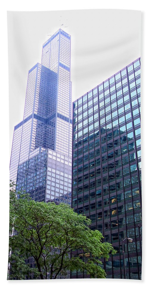 Chicago Beach Towel featuring the photograph Pink Tower by Donna Blackhall