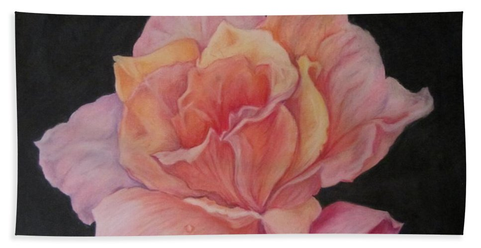 Flower Beach Towel featuring the drawing Pinky by Barbara O'Toole