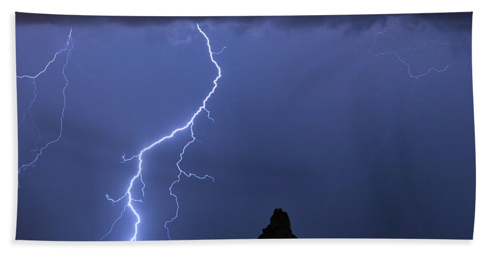 Pinnacle Peak; North Scottsdale; Arizona; Phoenix; Desert; Lightning; Storms; Striking; Bolts; Landscapes; Nature; Stock Images; Wall Art; Photography; Weather; Sky; Skyscape; Tmed Exposure; Posters; Canvas Prints; Canvas Art; Striking-photography.co Beach Towel featuring the photograph Pinnacle Peak Lightning by James BO Insogna