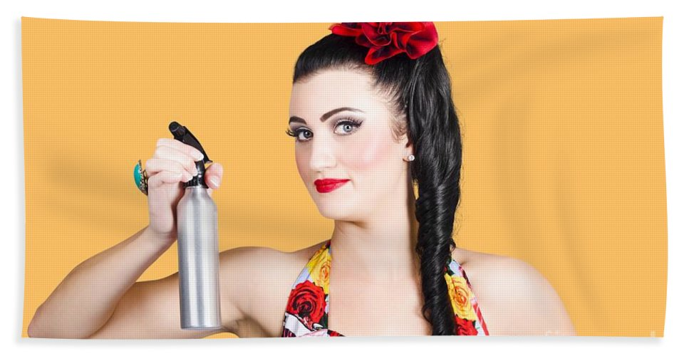 Accessories Beach Towel featuring the photograph Pinup Woman Holding A Cleaning Spray Bottle by Jorgo Photography - Wall Art Gallery