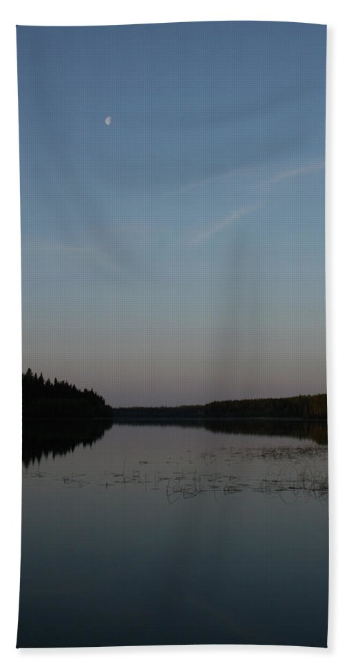 Piprell Lake Saskatchewan Moon Water Natural Nature Trees Forest Sky Reeds Beach Towel featuring the photograph Piprell Lake At Dusk by Andrea Lawrence