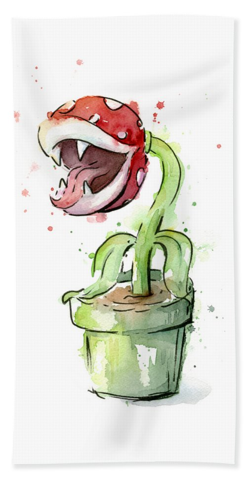 Piranha Beach Towel featuring the painting Piranha Plant Watercolor by Olga Shvartsur