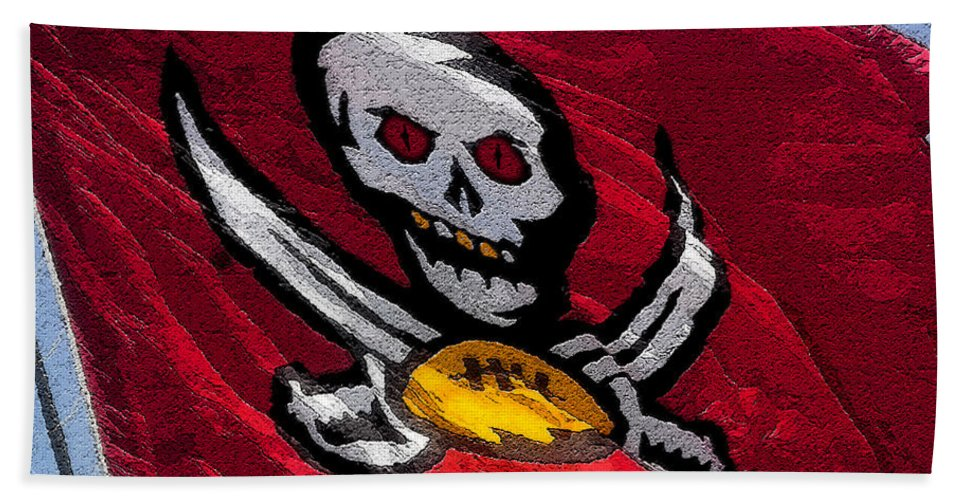 Art Beach Towel featuring the painting Pirate Football by David Lee Thompson