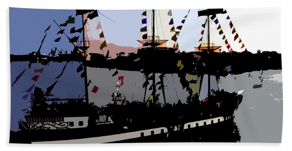 Pirate Beach Towel featuring the painting Pirate Ship by David Lee Thompson