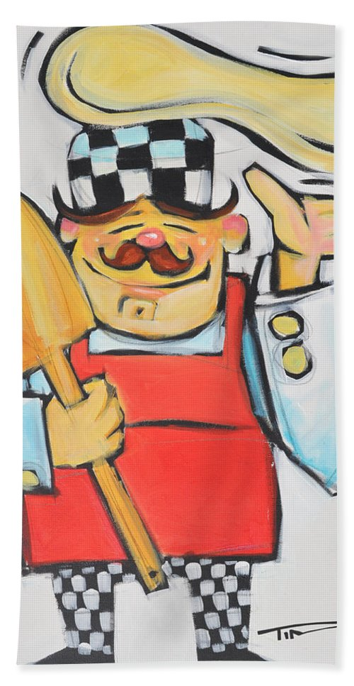 Chef Beach Towel featuring the painting Pizza Chef by Tim Nyberg