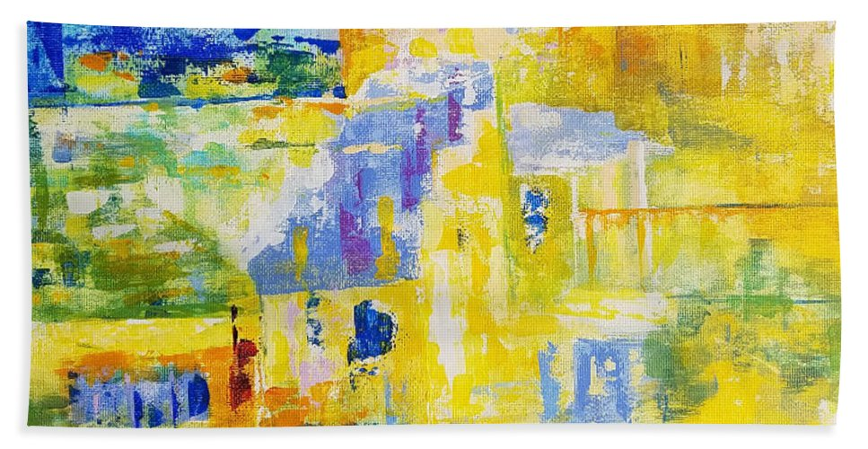 Abstract Landscape Beach Towel featuring the painting Place Of Light by Olga Malamud-Pavlovich