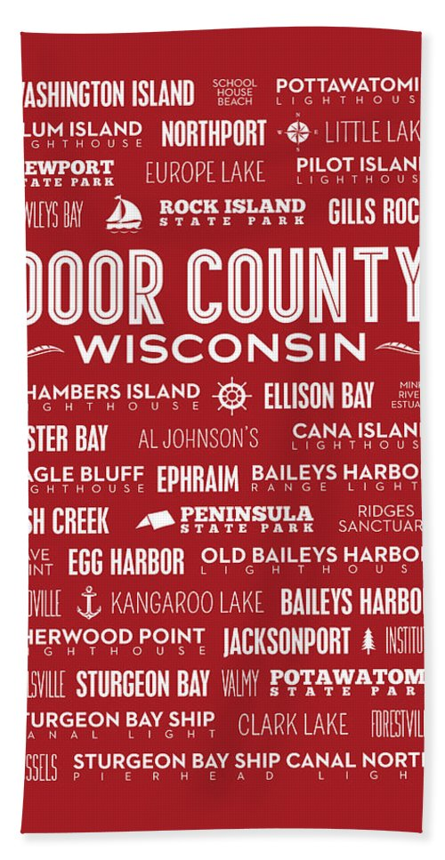 Door County Beach Towel featuring the digital art Places Of Door County On Red by Christopher Arndt