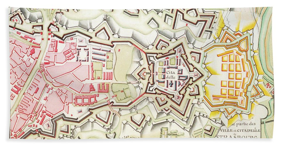 Plan City Beach Towel featuring the mixed media Plan Of Part Of The City And Citadel Of Strasbourg by Art Makes Happy