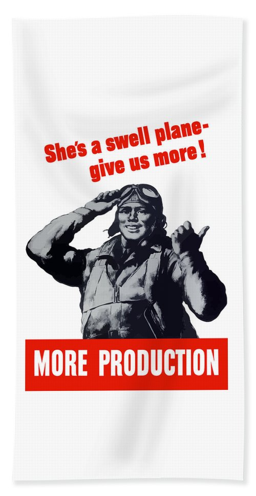 Pilot Beach Towel featuring the painting Plane Production Give Us More by War Is Hell Store