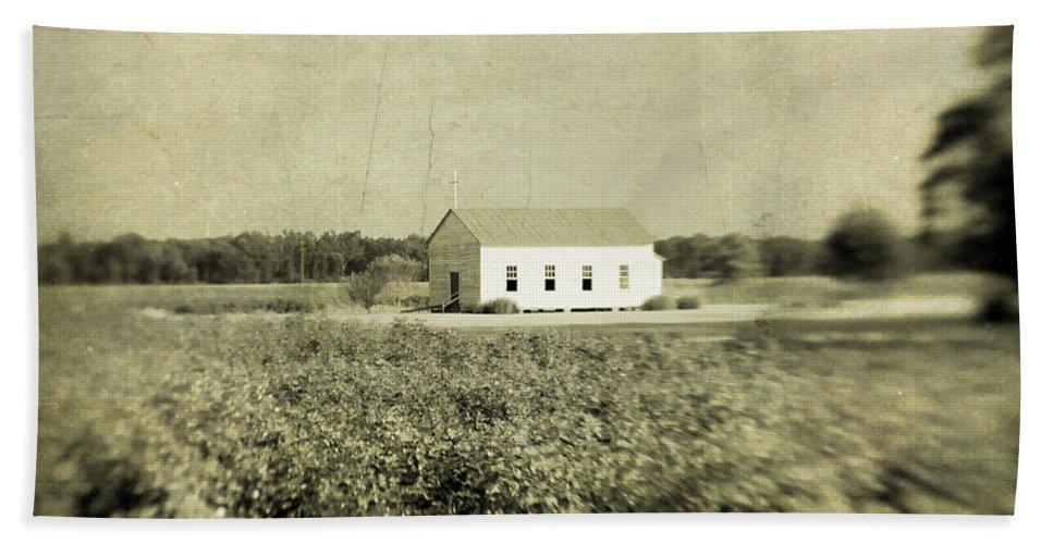 Church Beach Towel featuring the photograph Plantation Church - Sepia Texture by Scott Pellegrin