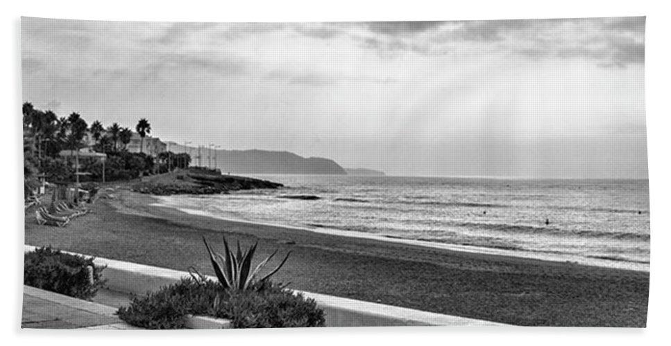 Monochromephotography Beach Towel featuring the photograph Playa Burriana, Nerja by John Edwards