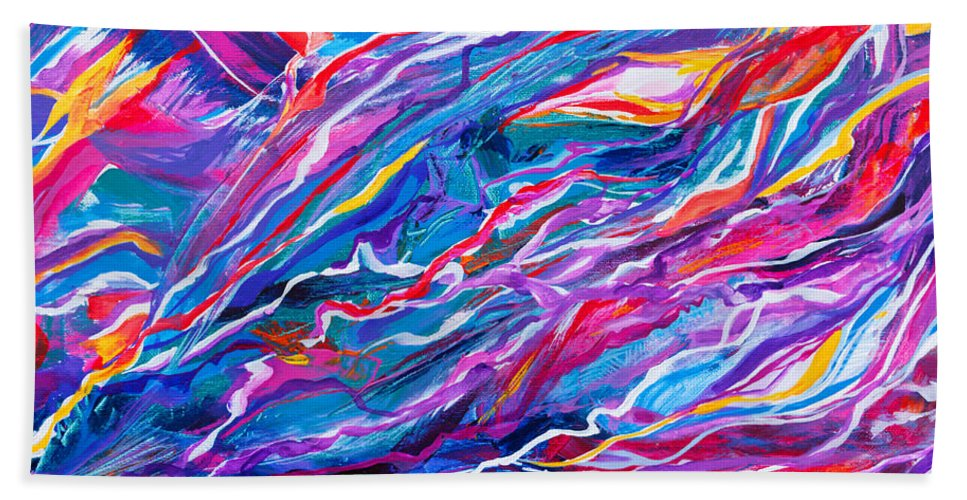 Filaments Lines Strokes Rushing Water Full Of Vibrant Color And Dynamic Movement Energy Contemporary Original Abstract Beach Towel featuring the painting Playful stream by Priscilla Batzell Expressionist Art Studio Gallery