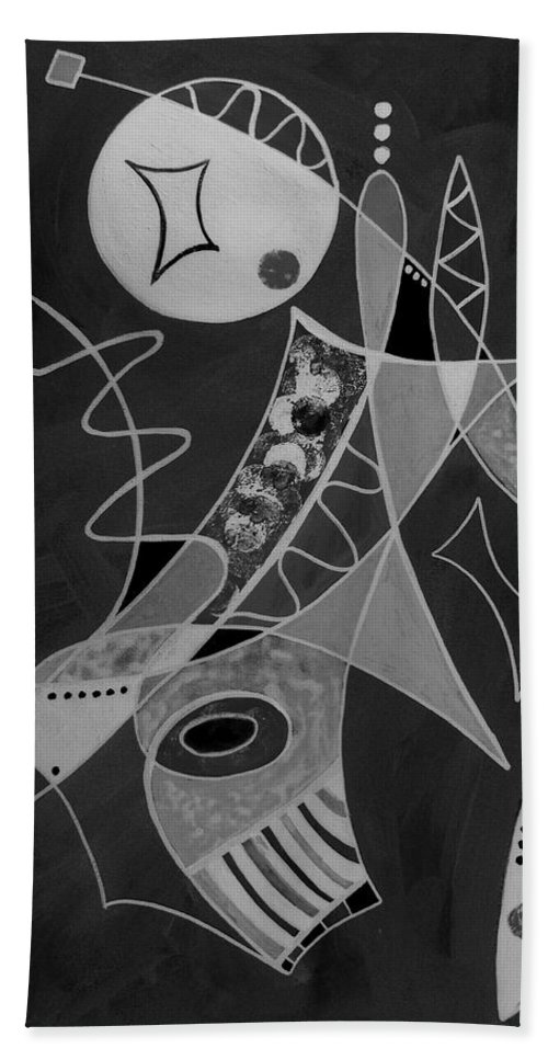 Abstract Beach Towel featuring the painting Playing Go Fish by Ruth Palmer