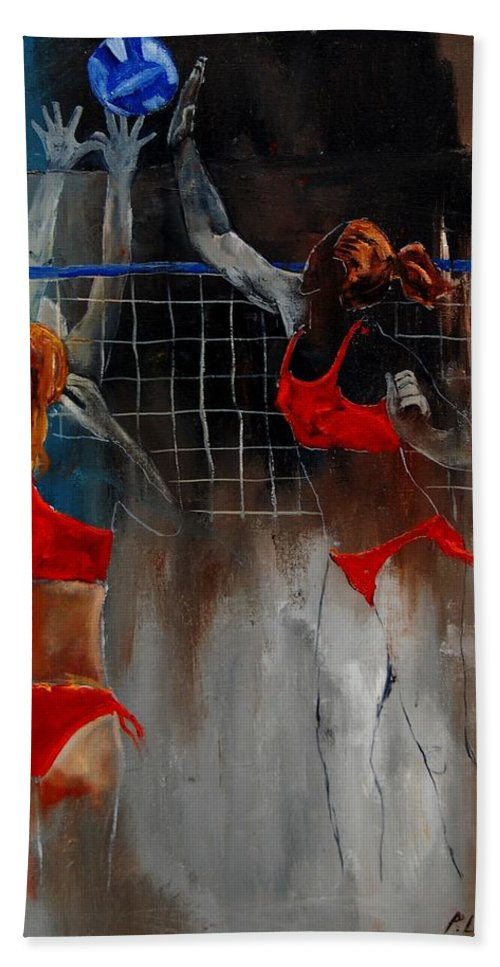 Sport Beach Sheet featuring the painting Playing Volley by Pol Ledent