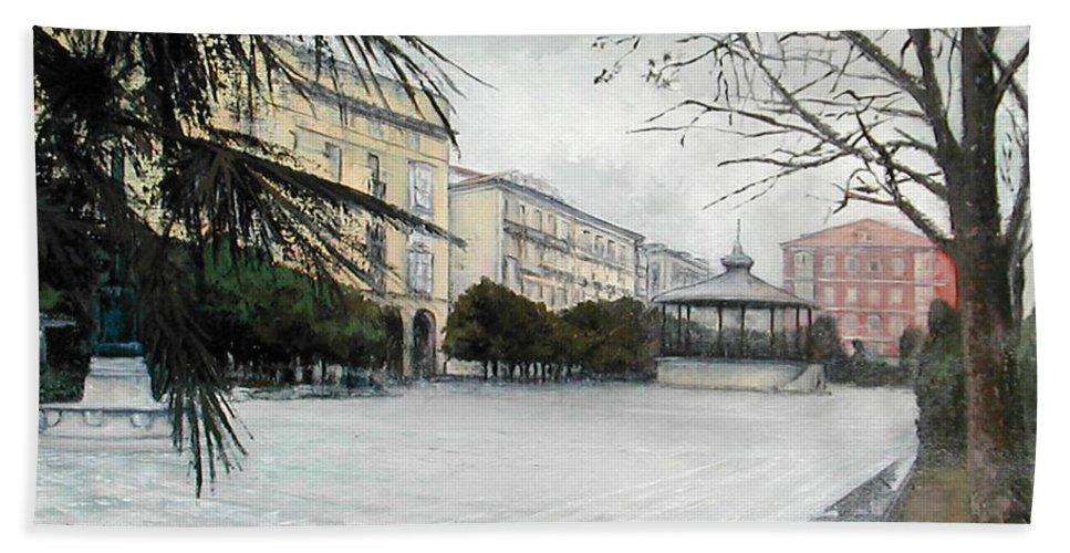 Santander Beach Towel featuring the painting Plaza de Pombo-Santander by Tomas Castano
