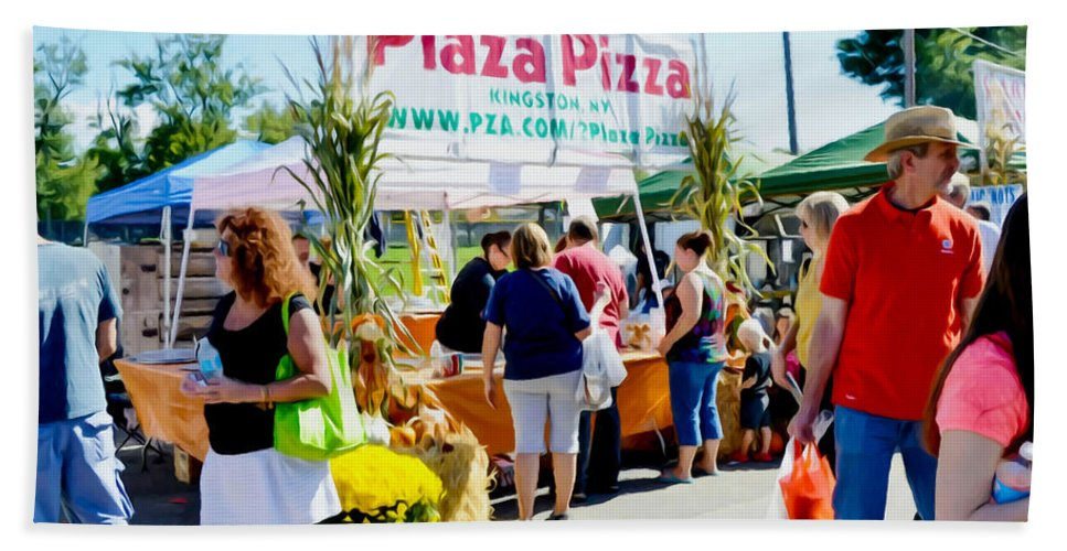 Plaza Pizza Beach Towel featuring the painting Plaza Pizza by Jeelan Clark