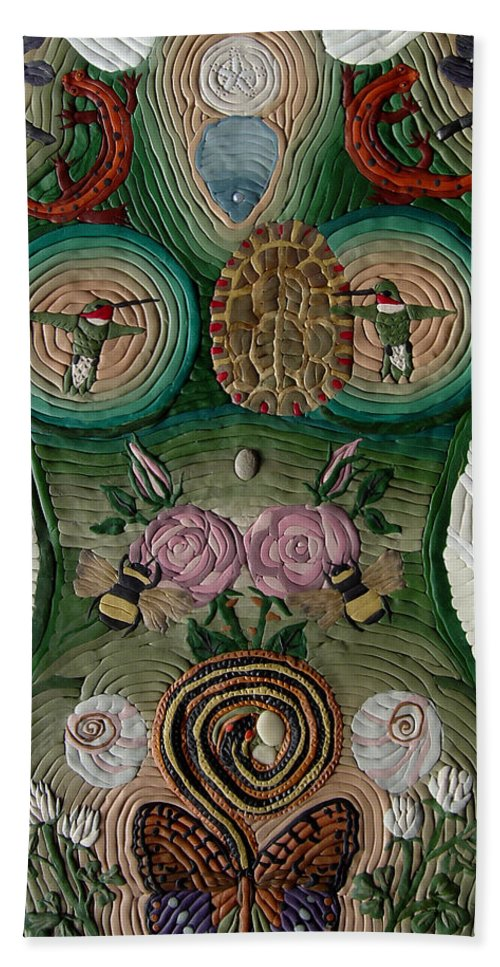 Woman Body Beach Towel featuring the relief Please Abide With Me by Arla Patch