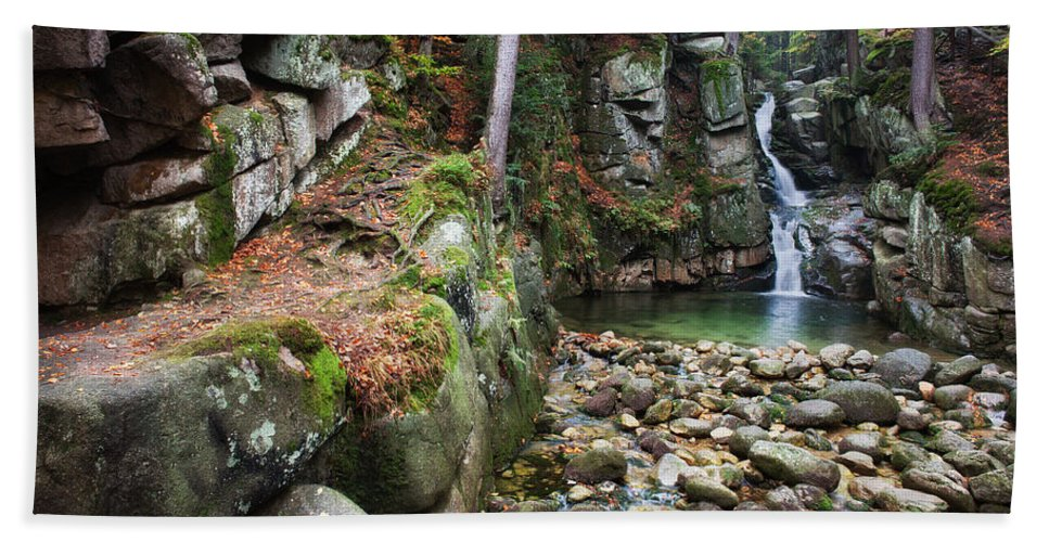 Nature Beach Towel featuring the photograph Podgorna Waterfall In Przesieka by Artur Bogacki