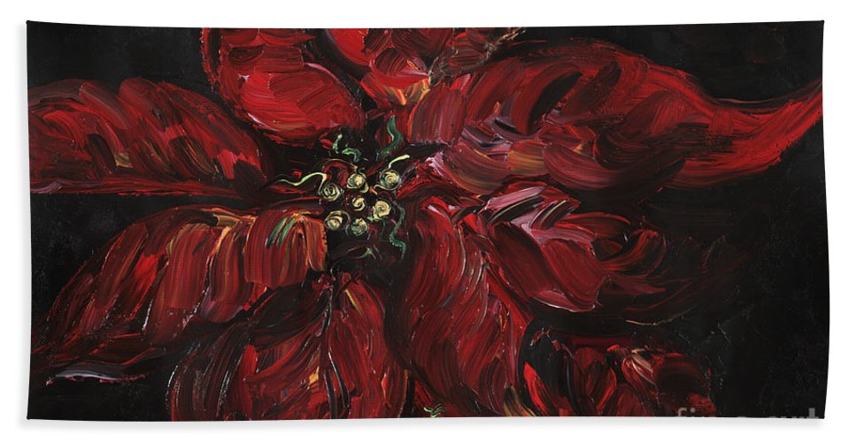 Abstract Beach Sheet featuring the painting Poinsettia by Nadine Rippelmeyer