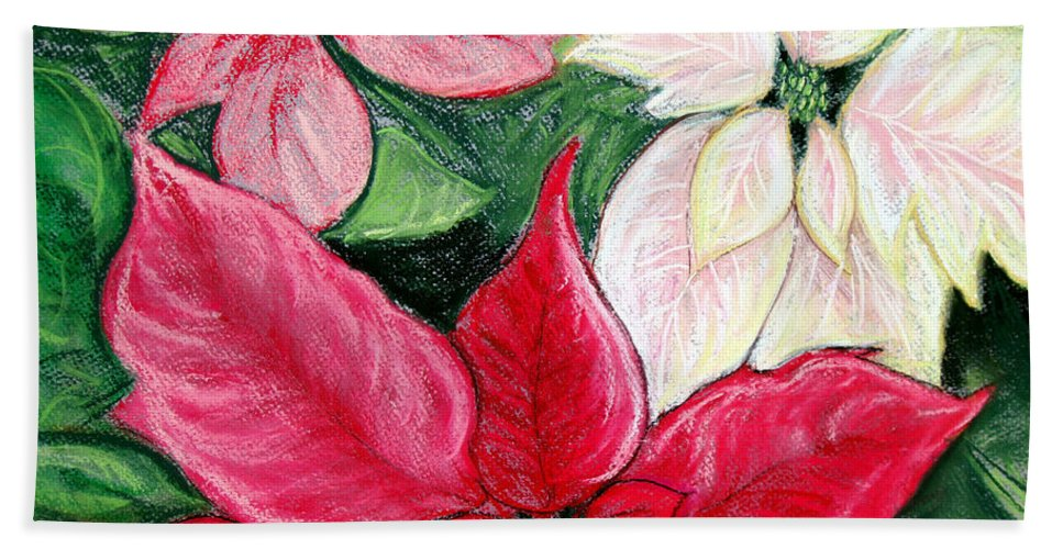 Poinsettia Beach Towel featuring the pastel Poinsettia Pastel by Nancy Mueller