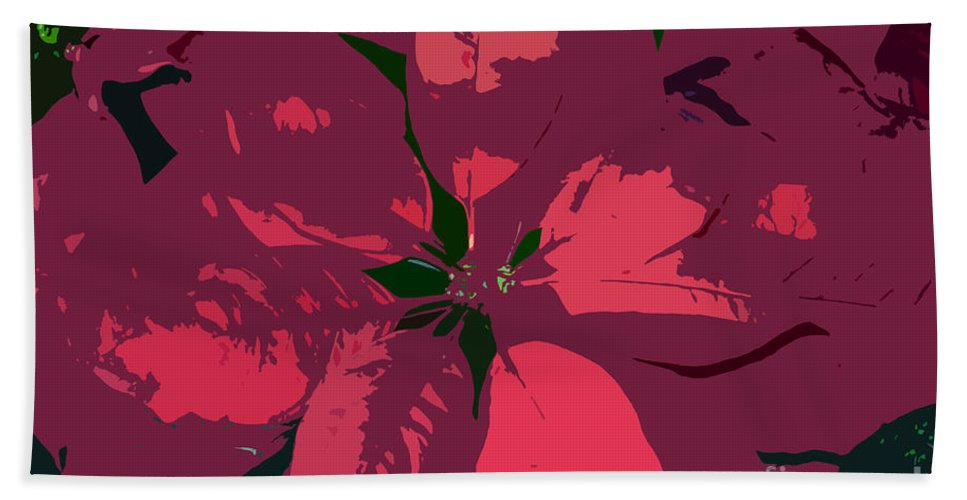 Poinsettias Beach Towel featuring the photograph Poinsettias Work Number 4 by David Lee Thompson