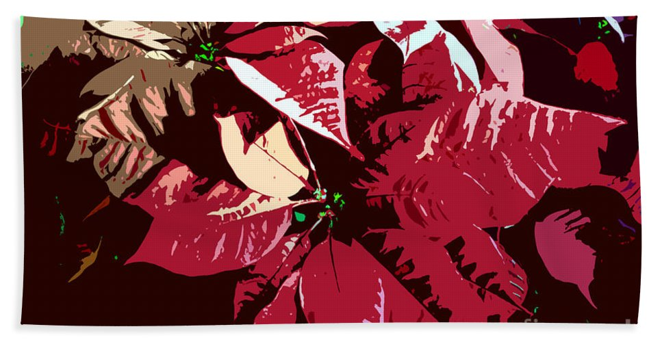 Poinsettias Beach Towel featuring the photograph Poinsettia's Work Number 7 by David Lee Thompson
