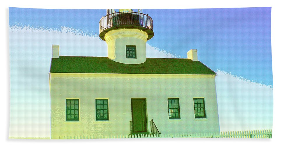 Point Loma Beach Towel featuring the mixed media Point Loma Lighthouse by Dominic Piperata