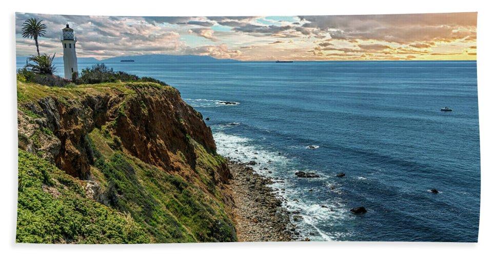 Point Vincente Lighthouse Beach Towel featuring the photograph Point Vincente Lighthouse by Janet Aguila Krause