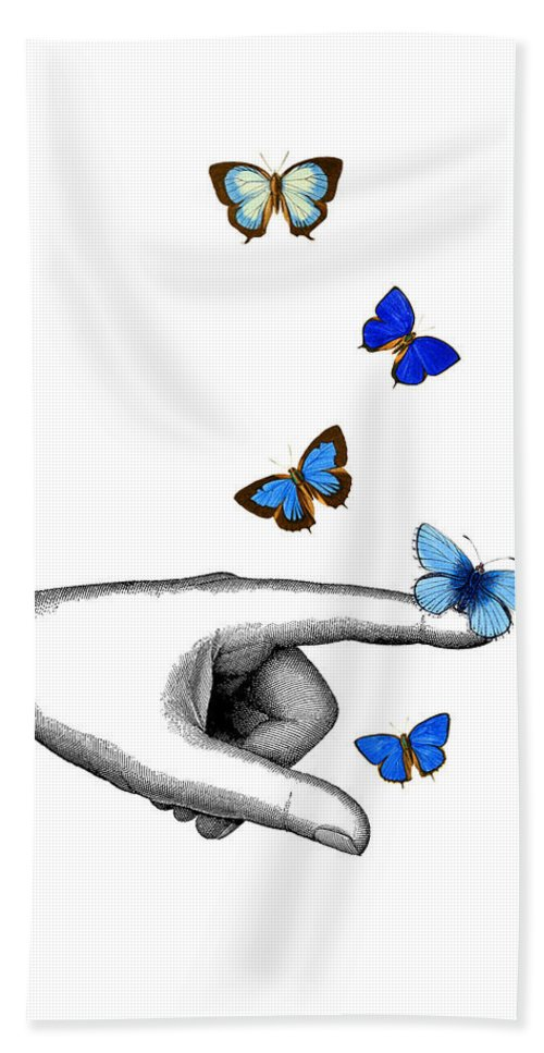 Pointing Beach Towel featuring the digital art Pointing Finger With Blue Butterflies by Madame Memento