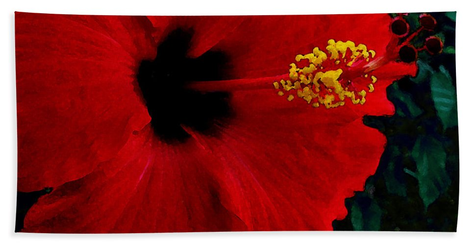 Red Hibiscus Beach Sheet featuring the photograph Poison Passion and Seduction by James Temple