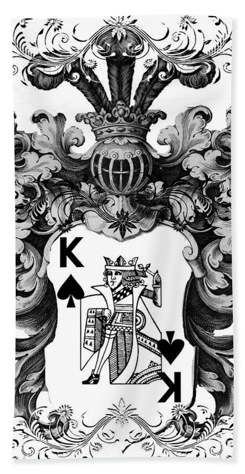 Poker King Spades Black And White Beach Towel For Sale By Justyna Jbjart